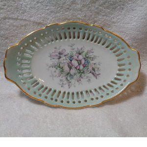 Beautiful  Vintage Floral Dish